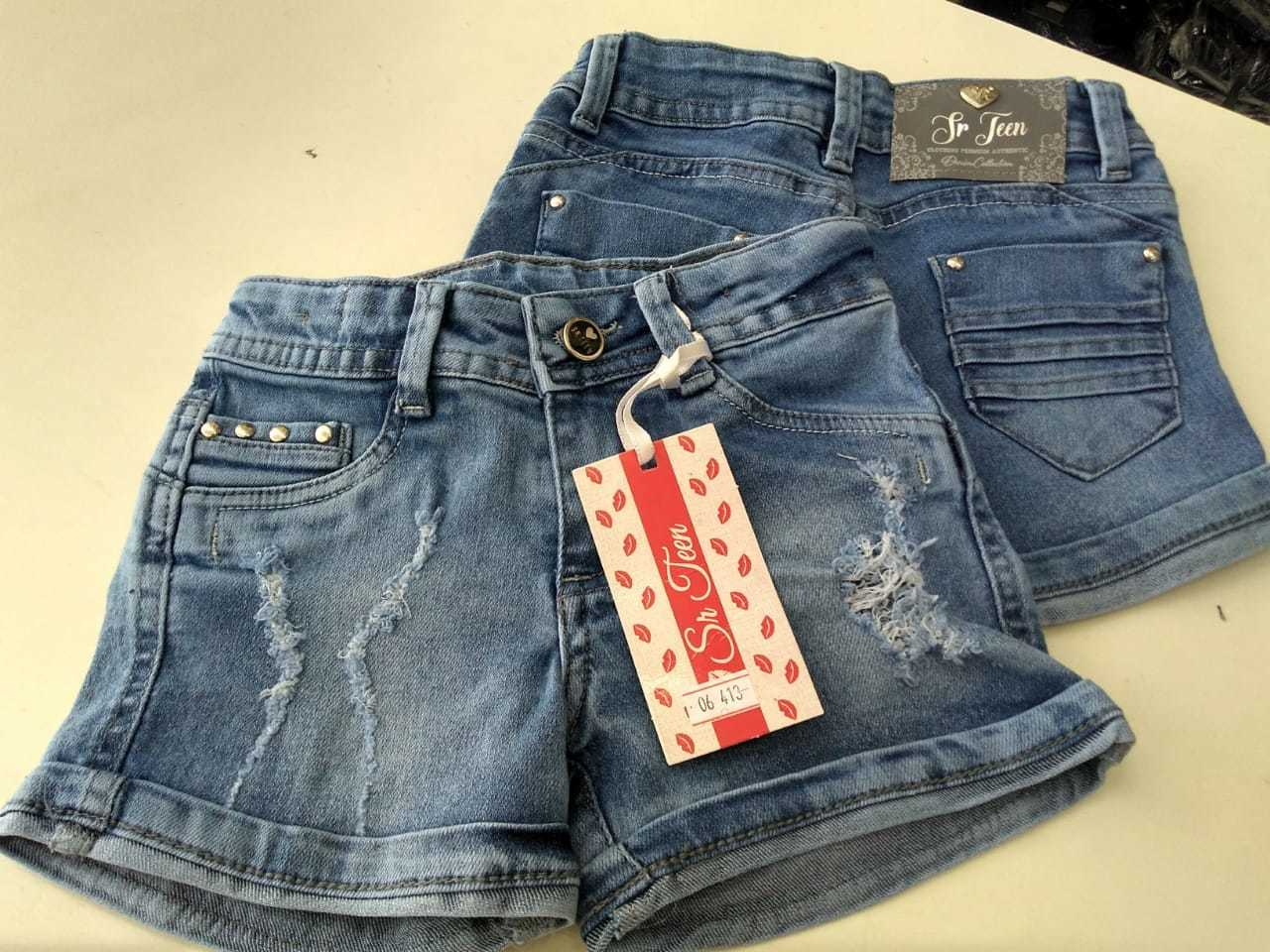 Short Jeans para Menina com barra dobrada Infantil [413]