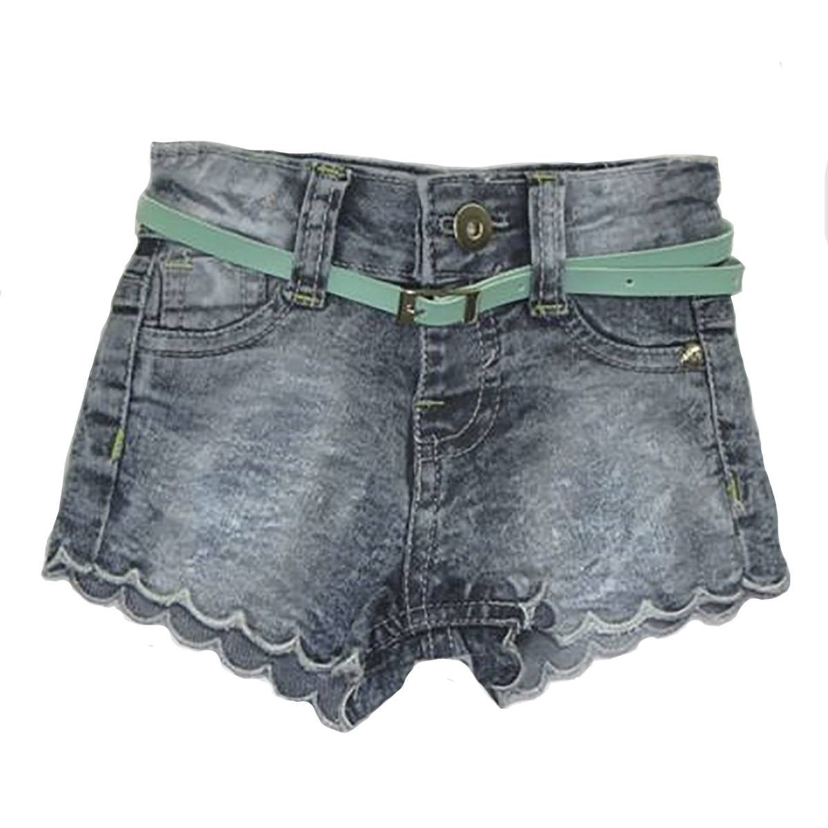 Shorts Jeans Infantil com Cinto Menina [005]