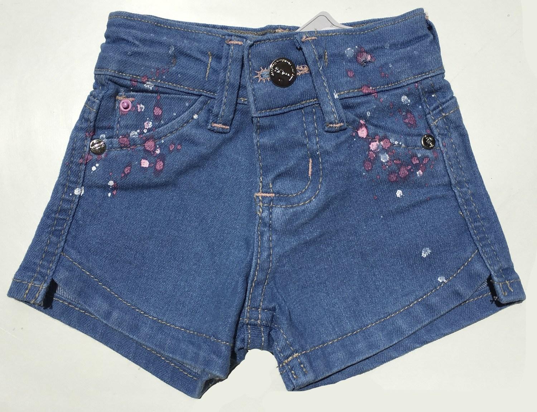 """Shorts Jeans com detalhe de """"respingos de tinta"""" [211]"""