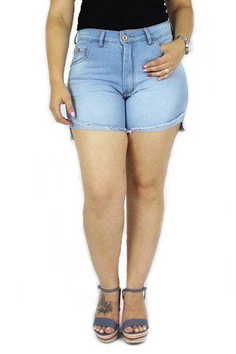 Shorts Dinho's Jeans Delavê Feminino Meia Coxa ref. 2478