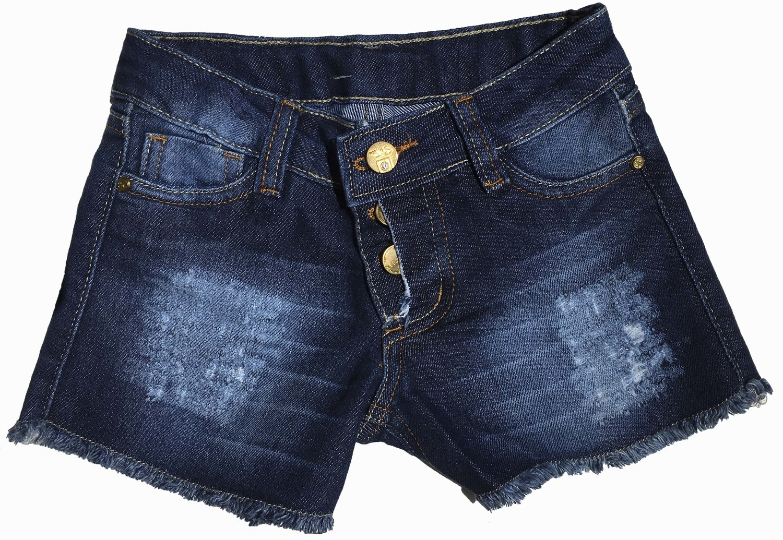 Shorts Feminino Infantil com Bolso Puído [894]