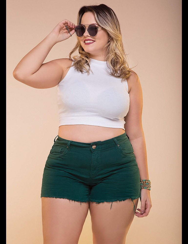 Shorts Sarja Fact Jeans - Plus Size - Ferrugem Ref. 04026