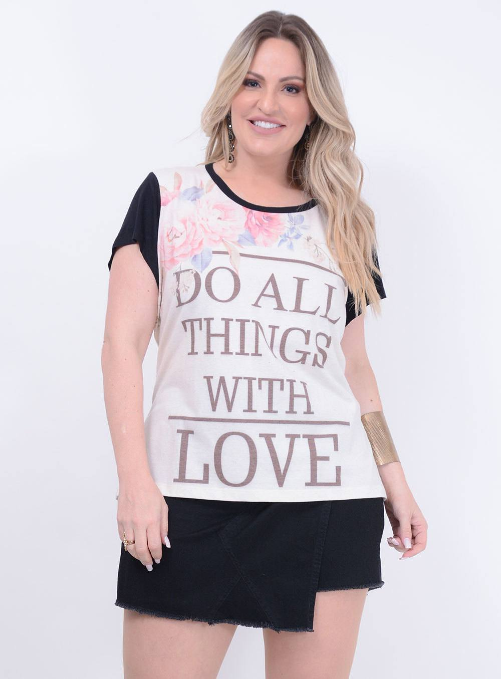"T-shirt em Malha Estampada ""Do All Things With Love"" ref. DY4952"