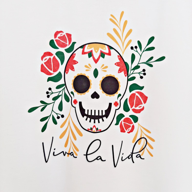 T Shirt Infantil Caveira Mexicana Colorida Branca