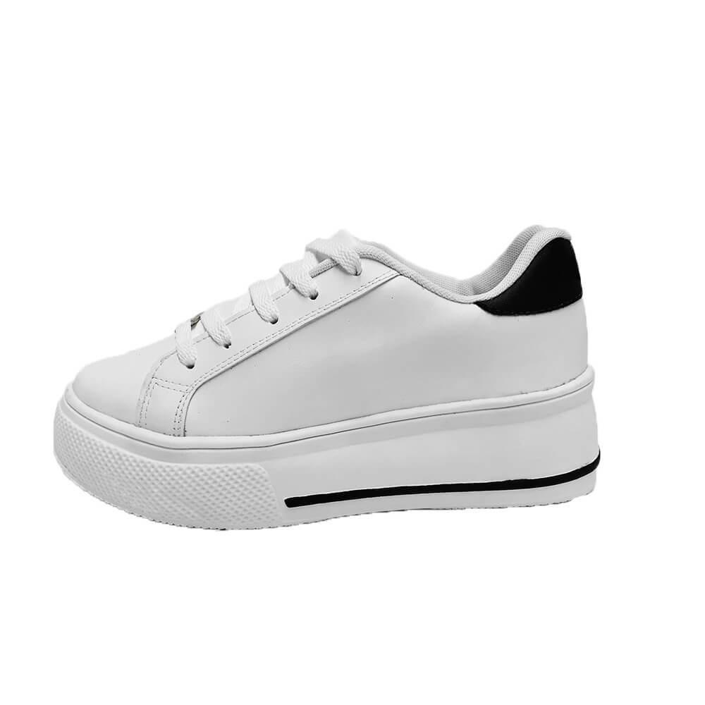 Tênis Feminino Conceito Fashion 10203 Couro Branco Preto