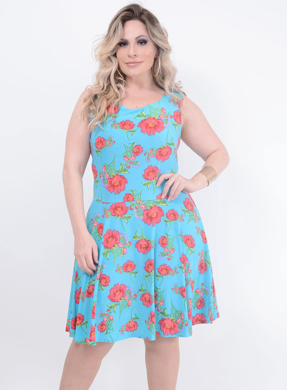 Vestido em Liganete Estampa Floral Azul ref. AT807