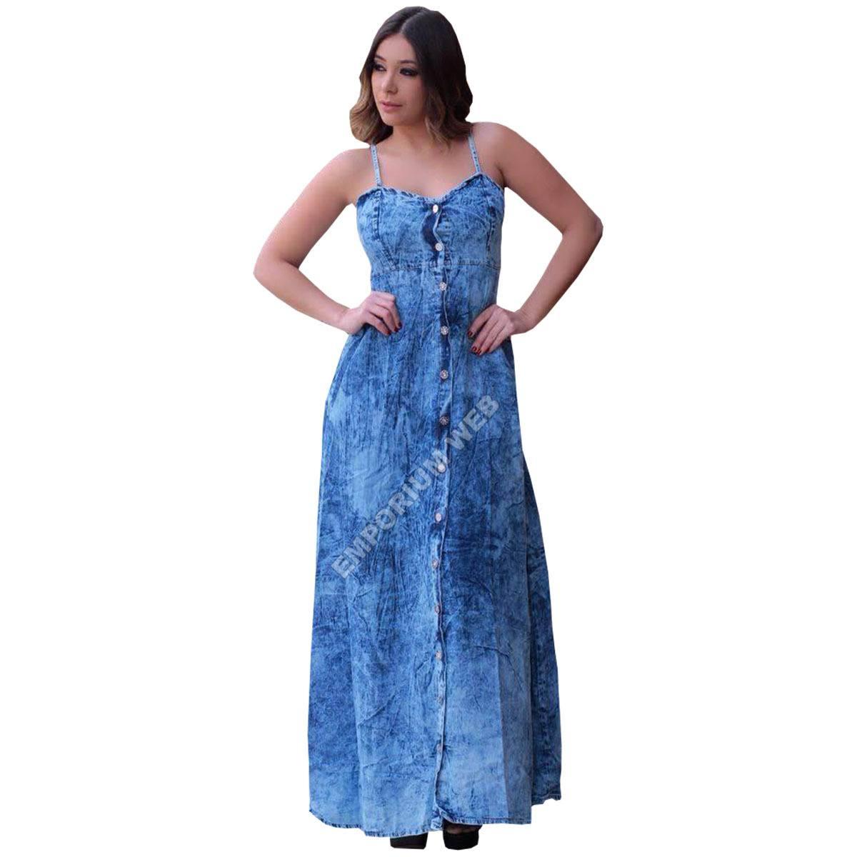 Vestido jeans longo de alça e botões frontal azul claro