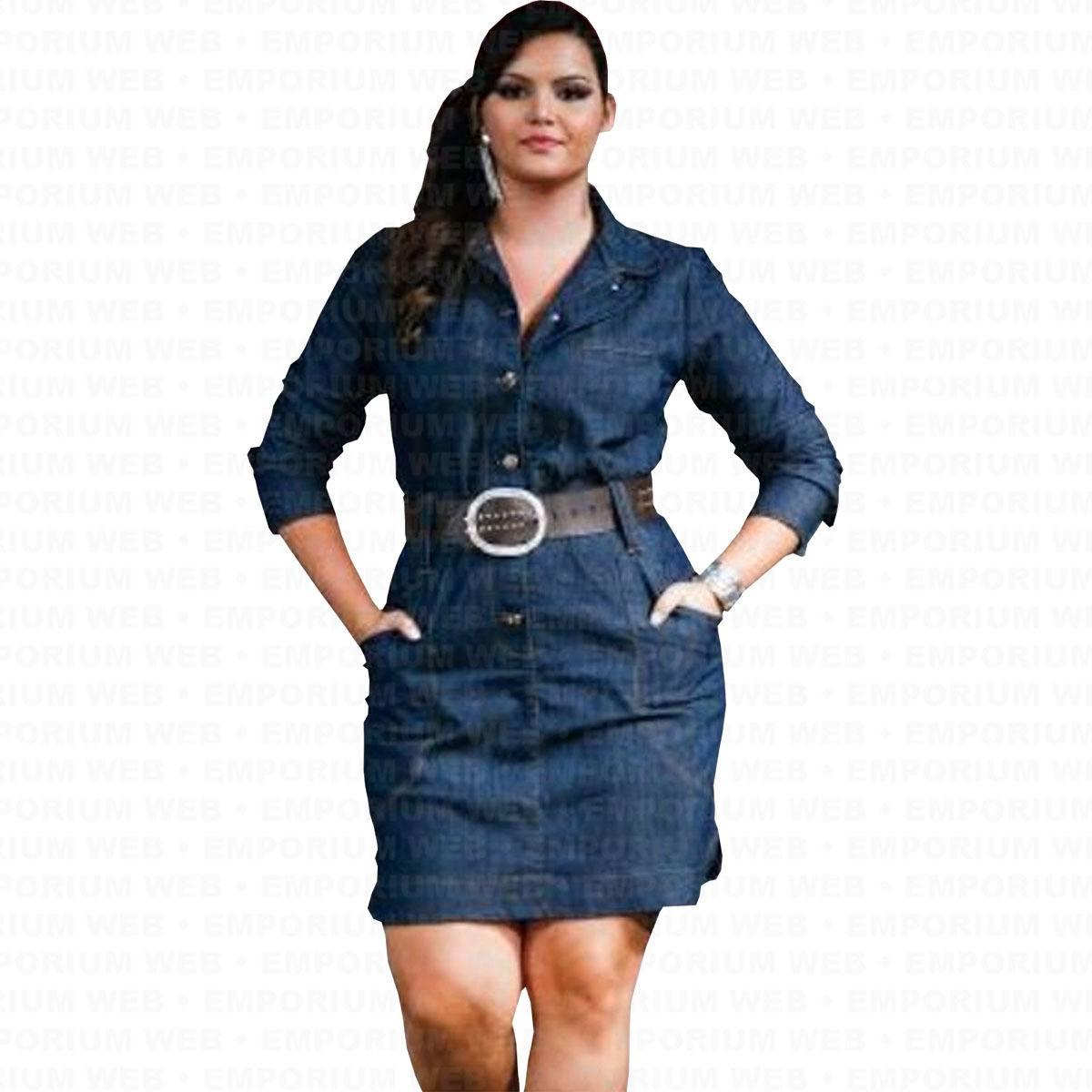 Vestido Jeans Midi Manga Longa com Botões Frontal - Azul Escuro