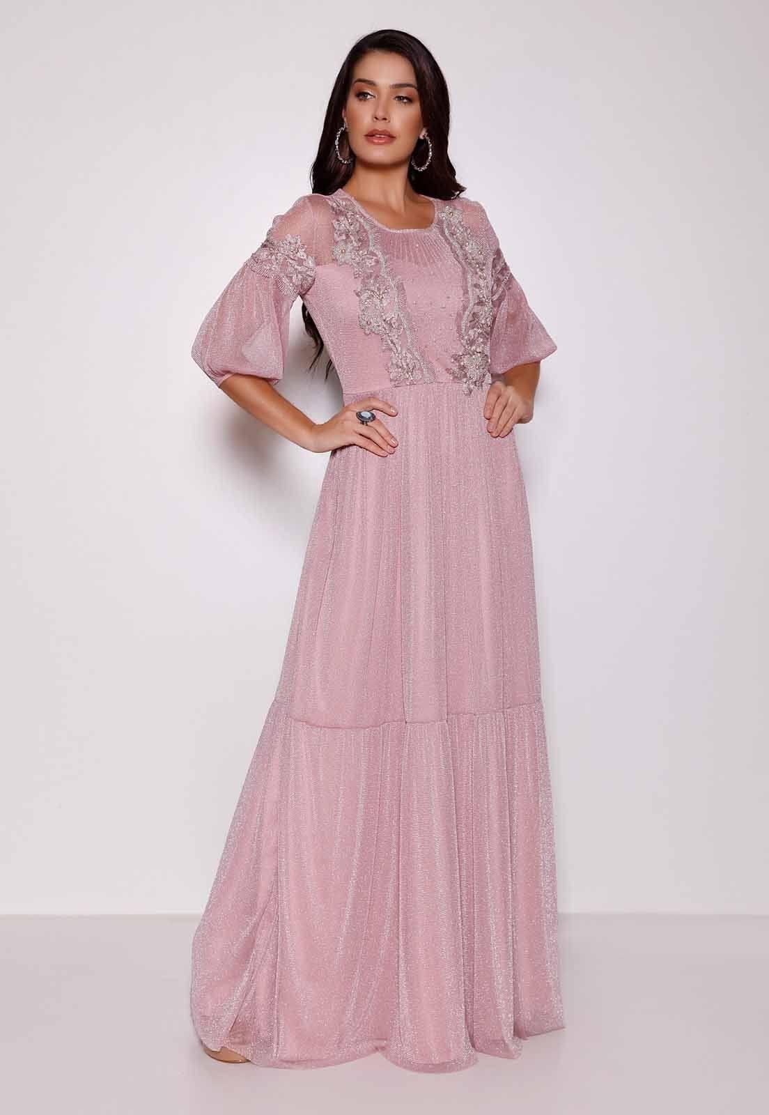 Vestido Longo Fasciniu's Bordado Moda Evangelica 2020