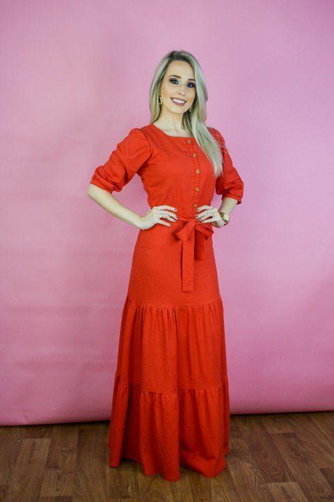 Vestido Longo Joyaly Linho 3 Marias Roupas Evangelicas