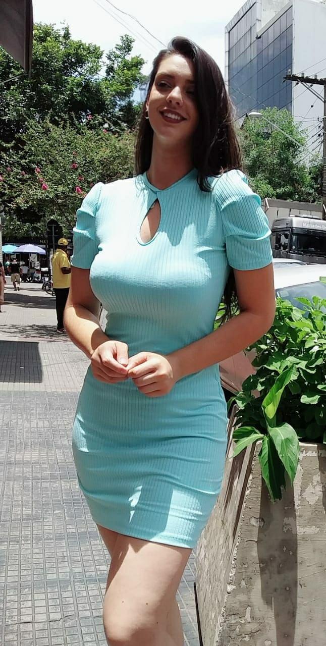 Vestido Ribana Manguinha Detalhe Gota Frontal