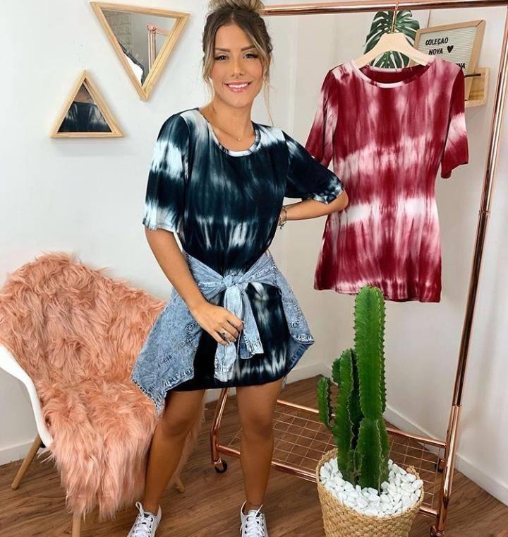 Vestido Camisetão Tie Dye Maxi Camiseta