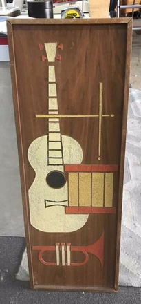 main photo of Mid Century Wood Carved Guitar