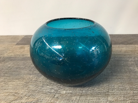 main photo of Teal Bubble Round Vase