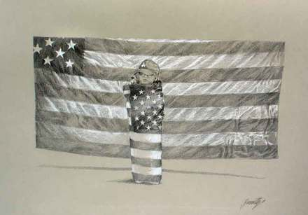 main photo of Child Wrapped in Flag Drawing