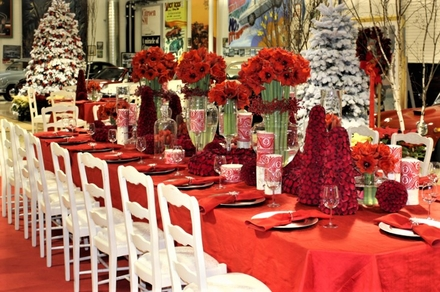main photo of Fresh Floral Holiday Tablescape Red Red Red