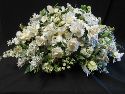 main photo of White rose casket spray