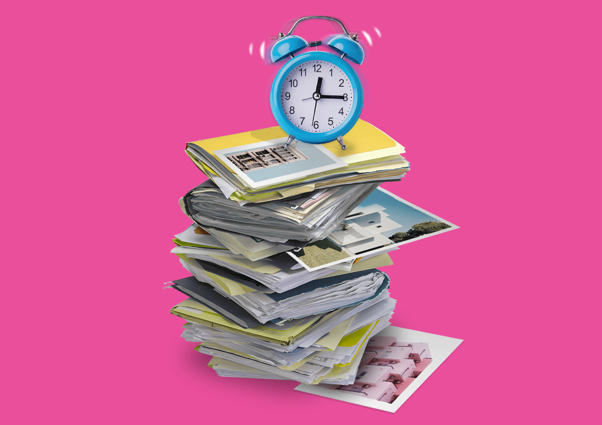 accounting for property management companies stacks of paperwork and a ticking clock