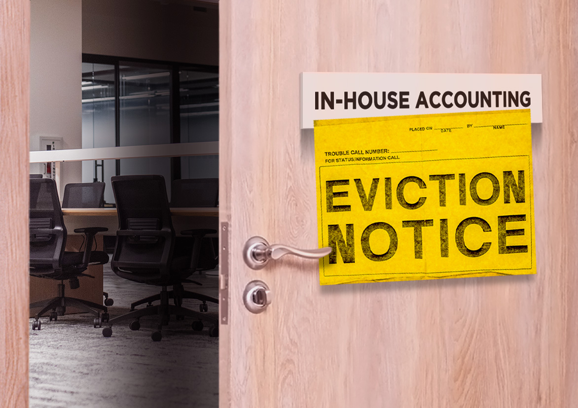 cut costs for property management A doorway to a conference room labeled 'in-house accounting' is cracked open with a yellow eviction notice taped to its front
