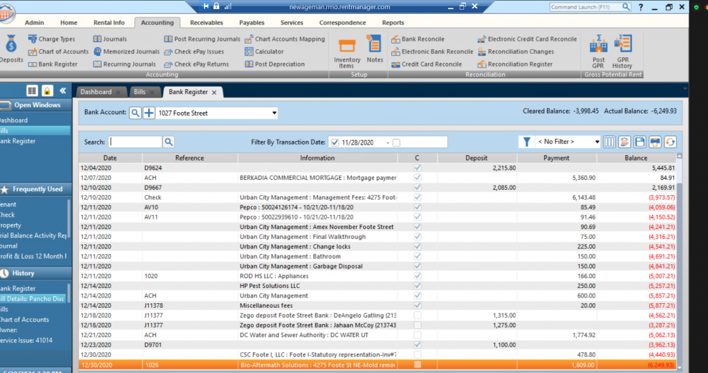 Rent Manager's Bank Register is an easy way to manage and monitor your cash flow.