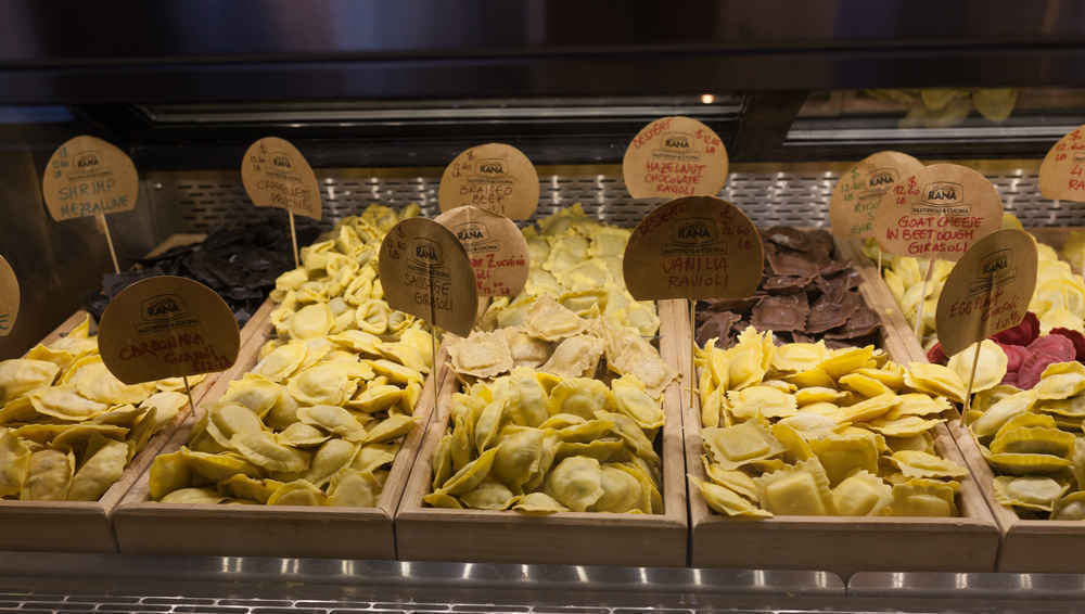 Pasta for sale in Chelsea Market shop