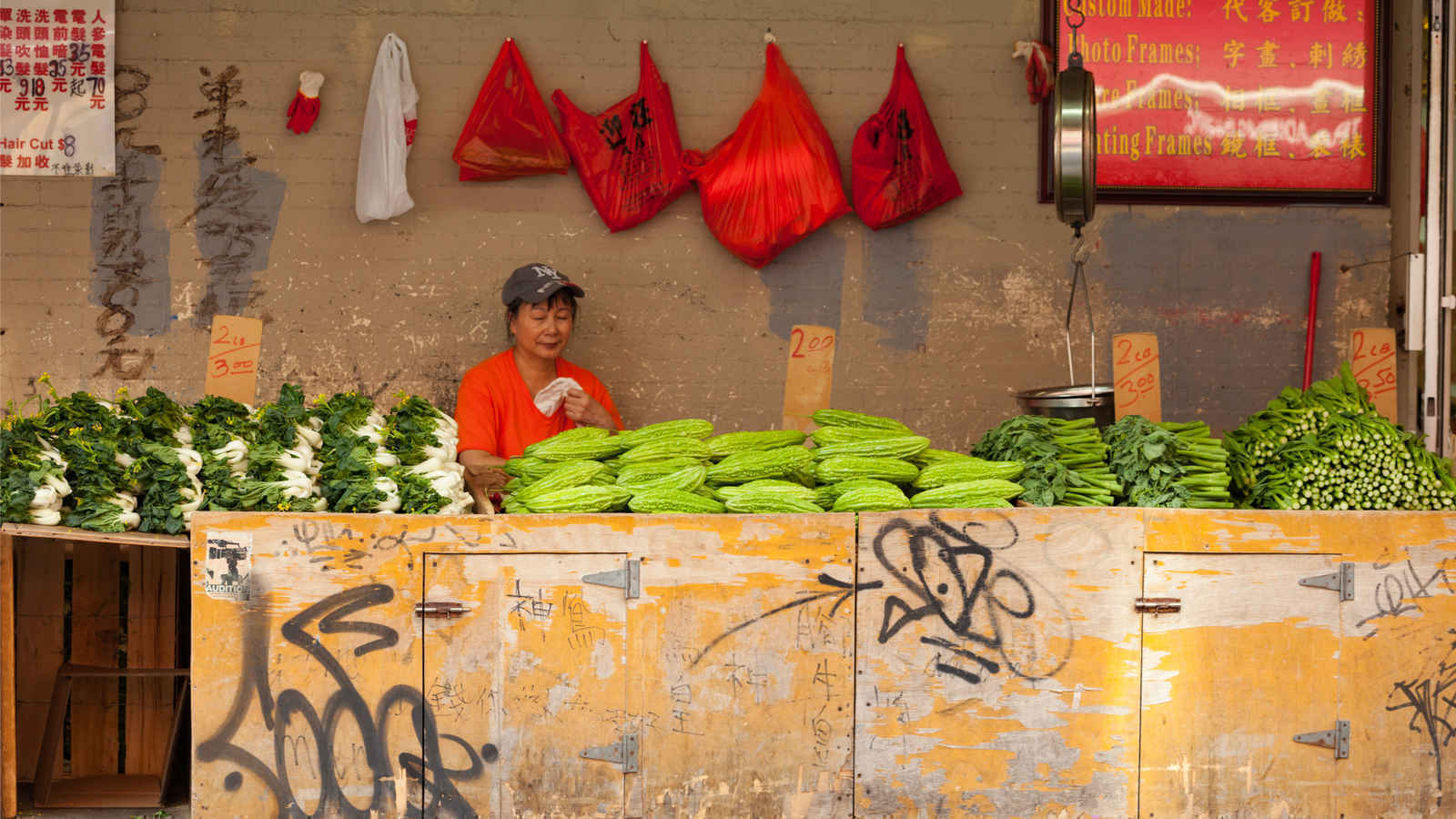 Vegetable stand in Chinatown New York City