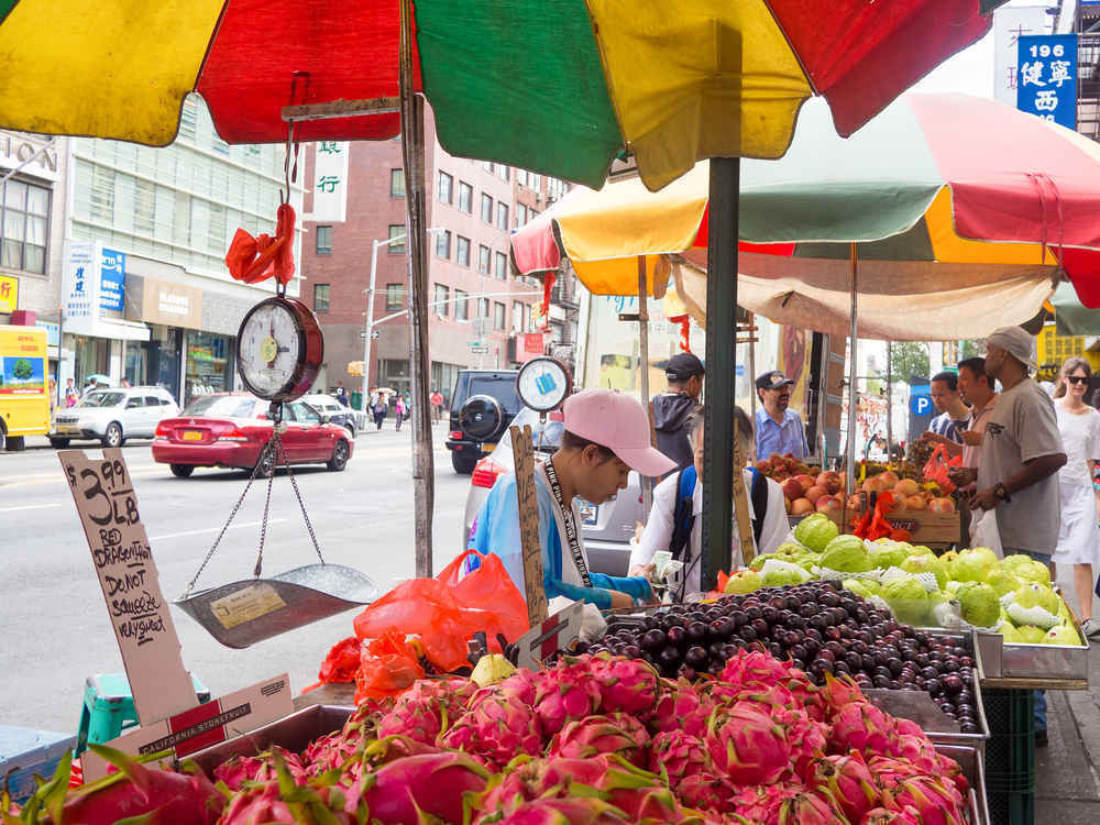 Fruit vendors in Chinatown neighborhood of Manhattan, New York