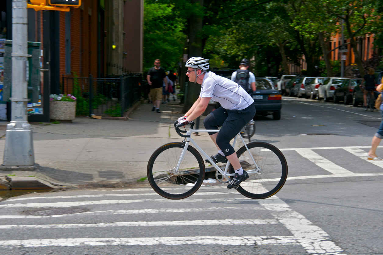 Bicyclist in Cobble Hill Brooklyn