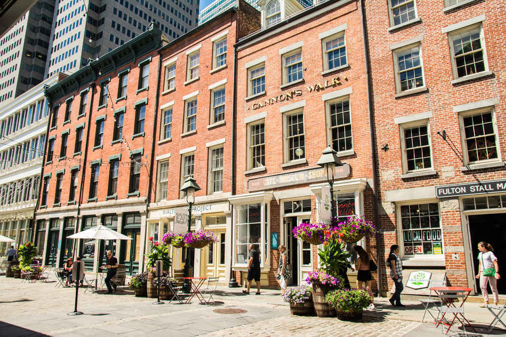 Shops and restaurants in the Financial District's South Street Seaport