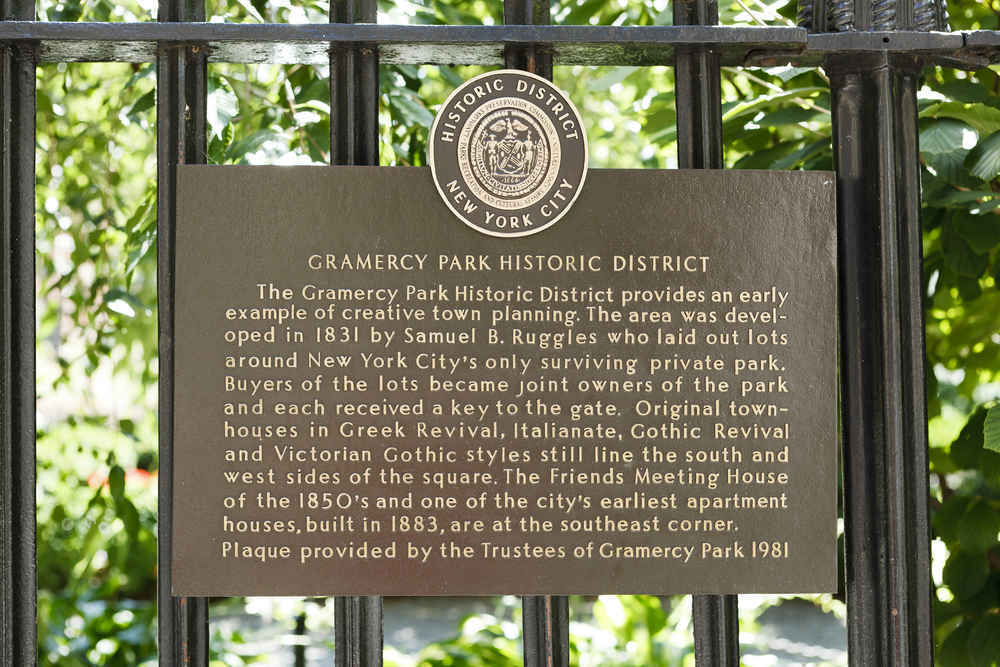 Gramercy Park Historic District Plaque, New York