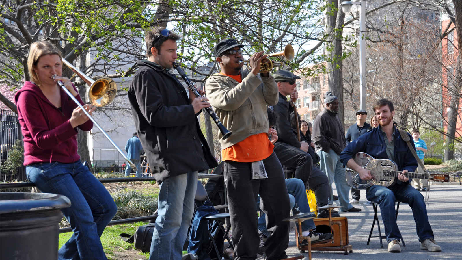 Street musicians, Washington Square Park, Greenwich Village, New York