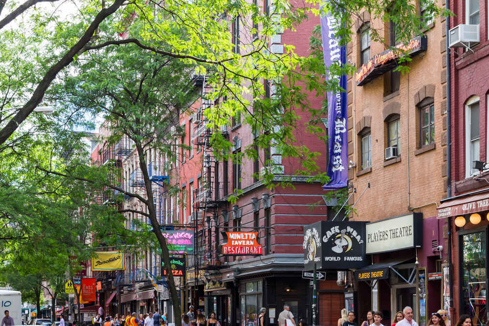 Greenwich Village bars and restaurants, street scene