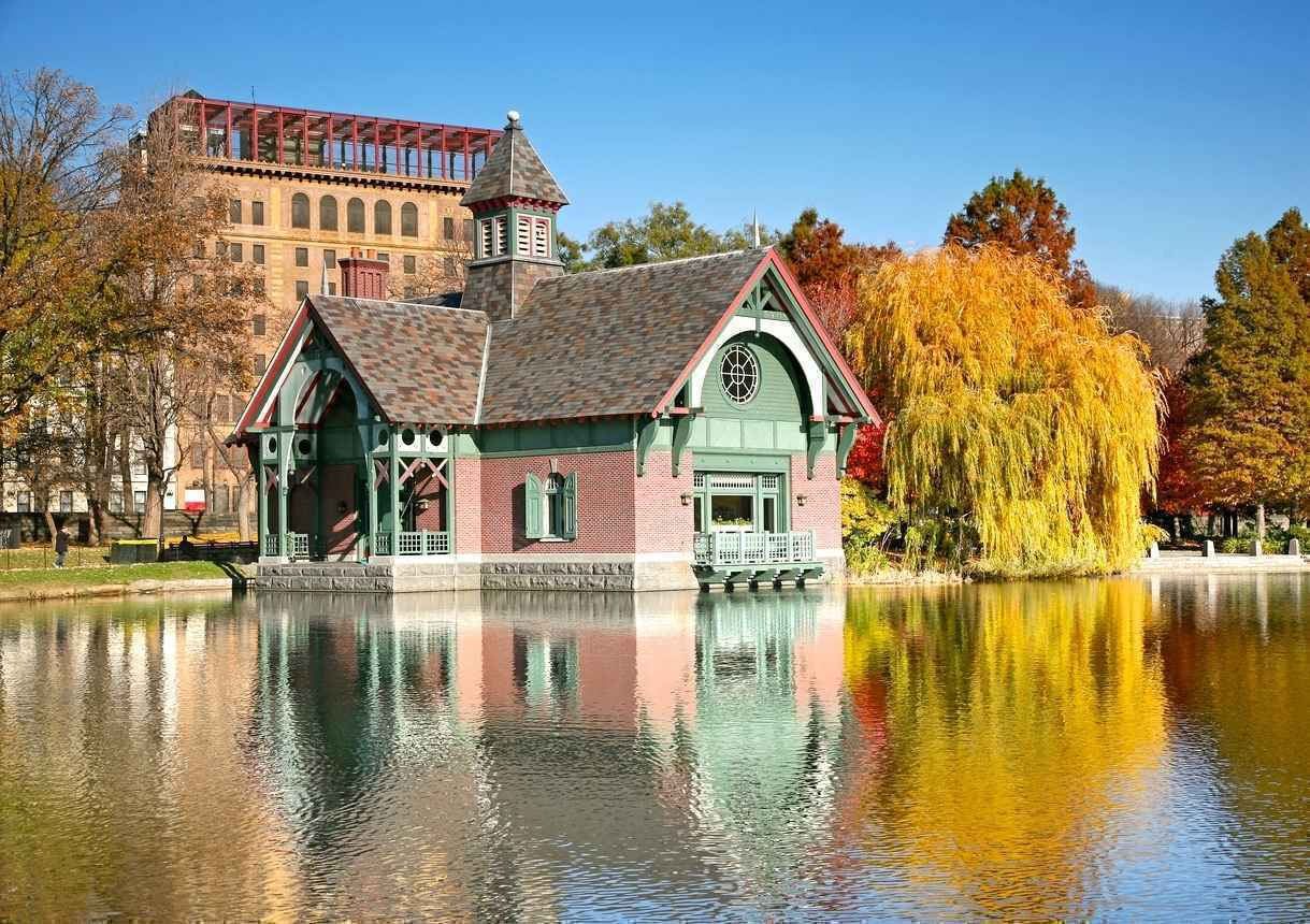 Boat House at Harlem Meer in Central Park, New York