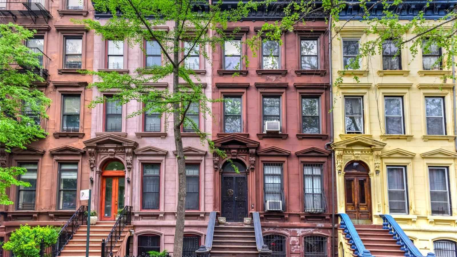 Residential brownstones in Harlem, New York