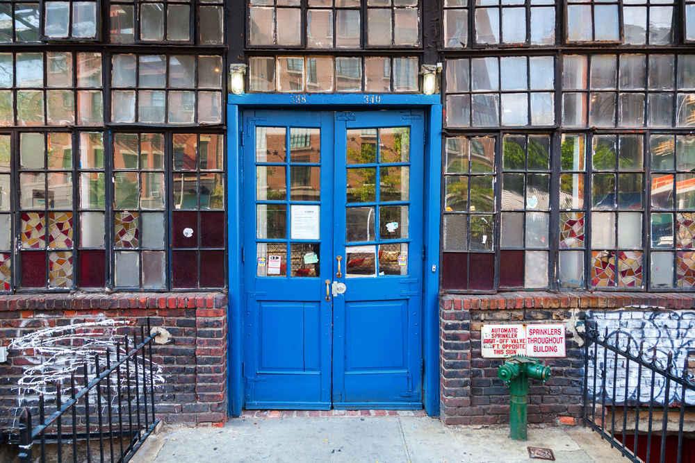 Building entrance in Bowery neighborhood, Manhattan