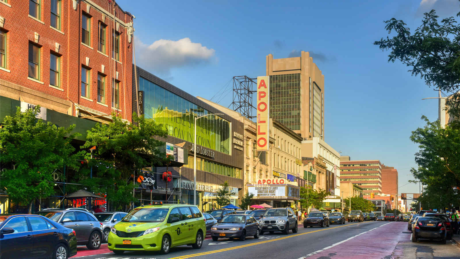 Panorama of Apollo Theater on Martin Luther King Jr Blvd, Harlem, New York
