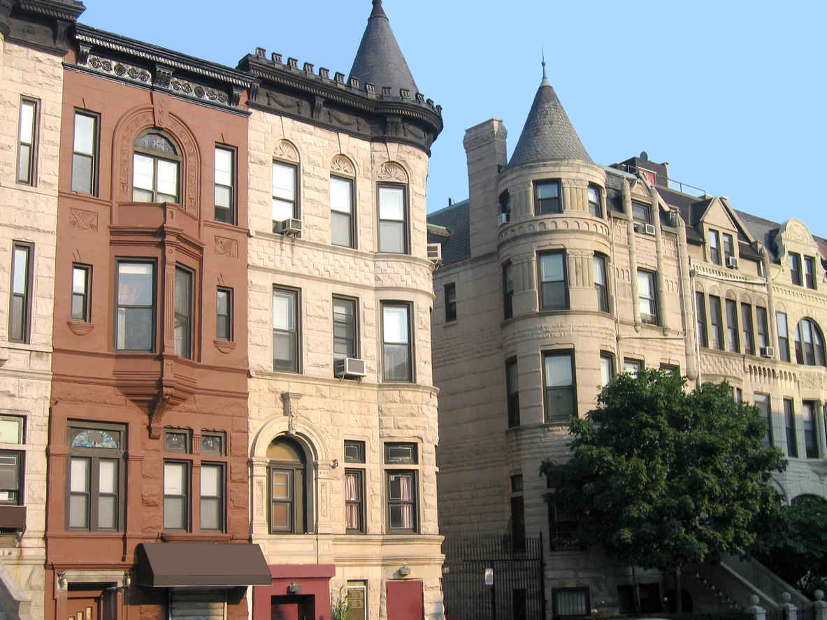 Brownstones in Harlem New York
