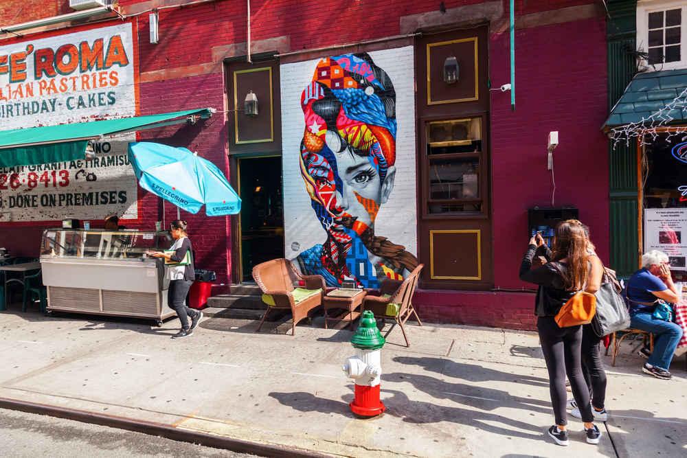 Urban art outdoor graffiti in Little Italy, New York