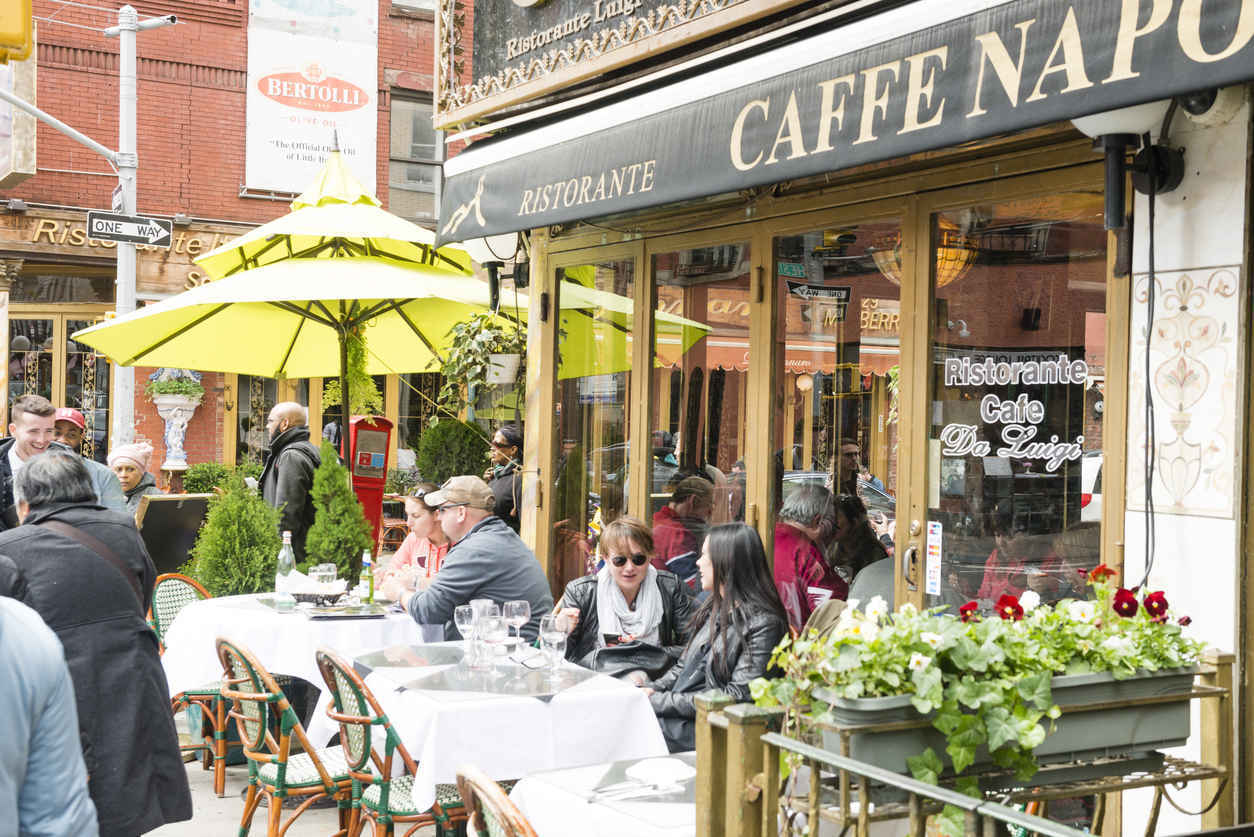 Sidewalk cafes and restaurants in Little Italy, New York