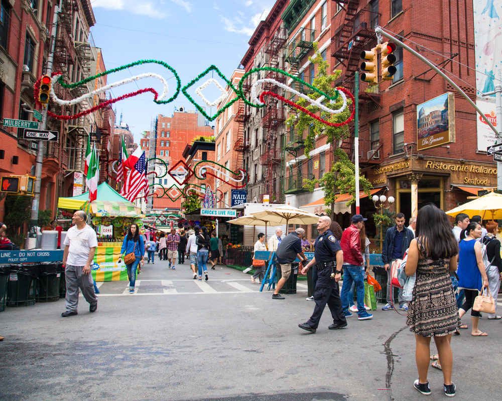 Street scene on Mulberry Street in Little Italy, New York