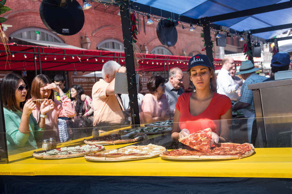 Pizza stand at Feast of San Gennaro in Little Italy, New York