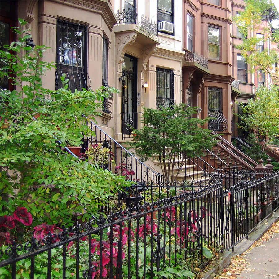 Brownstones with gardens in Park Slope Brooklyn