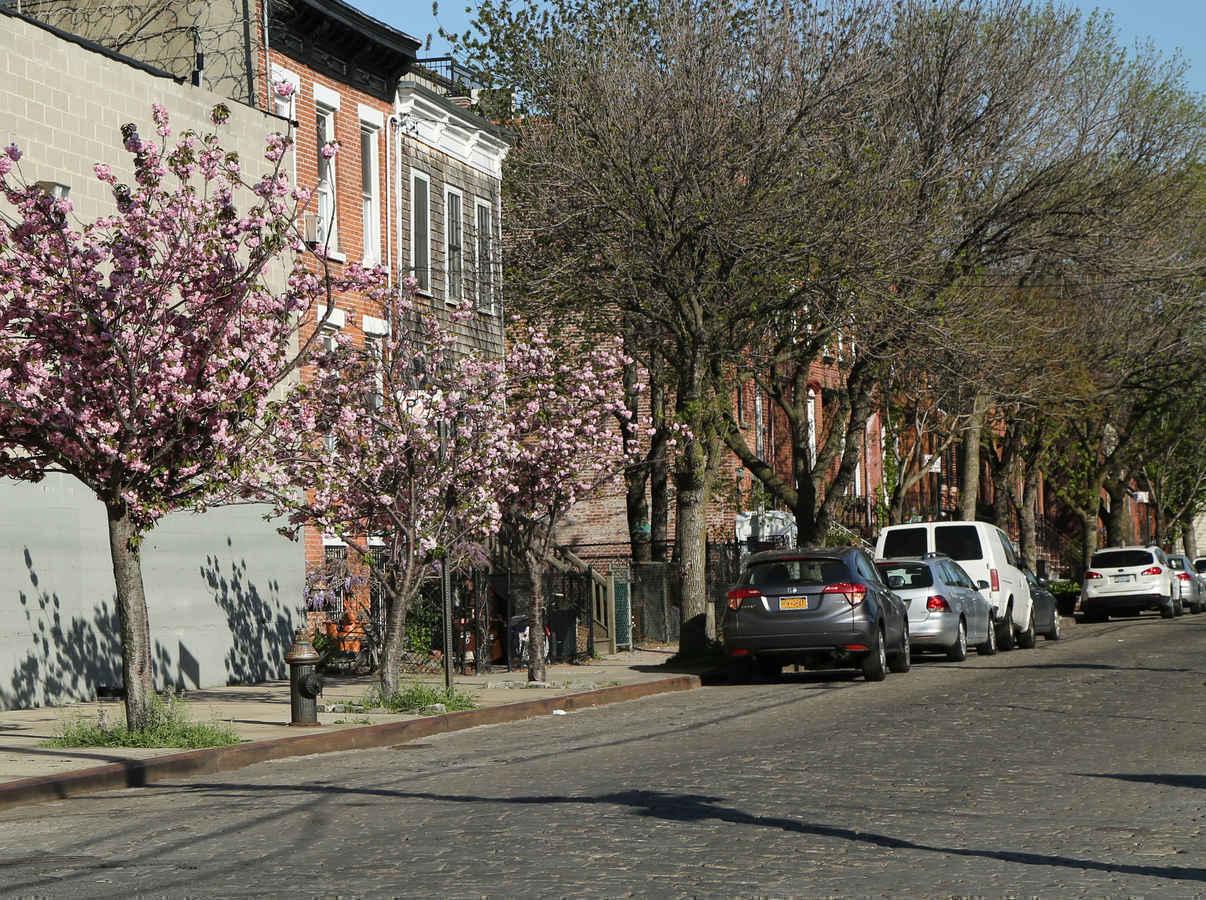 Cobblestone residential street in Red Hook Brooklyn