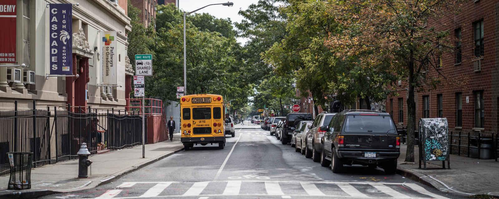 Tree-lined street Bowery Manhattan New York City