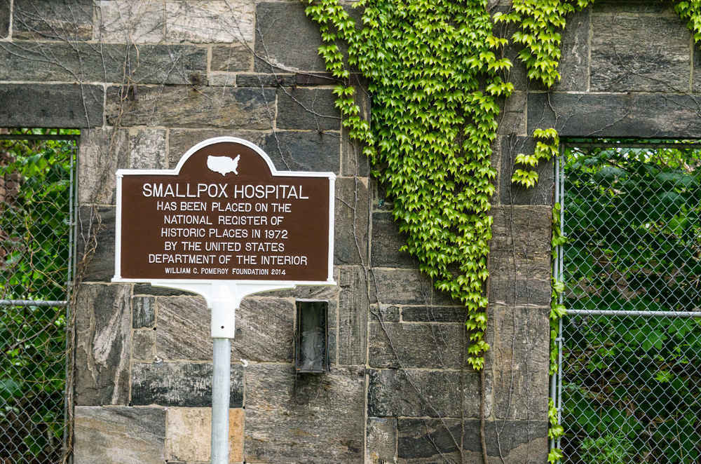 National Registry of Historical Places Sign, Renwick Smallpox Hospital on Roosevelt Island