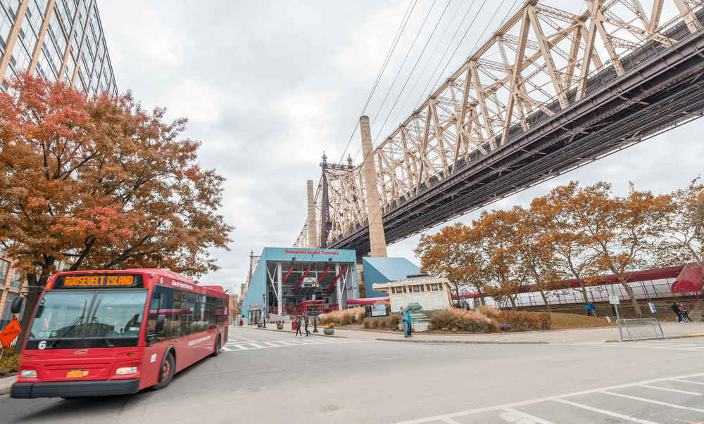 A red, Roosevelt Island Bus