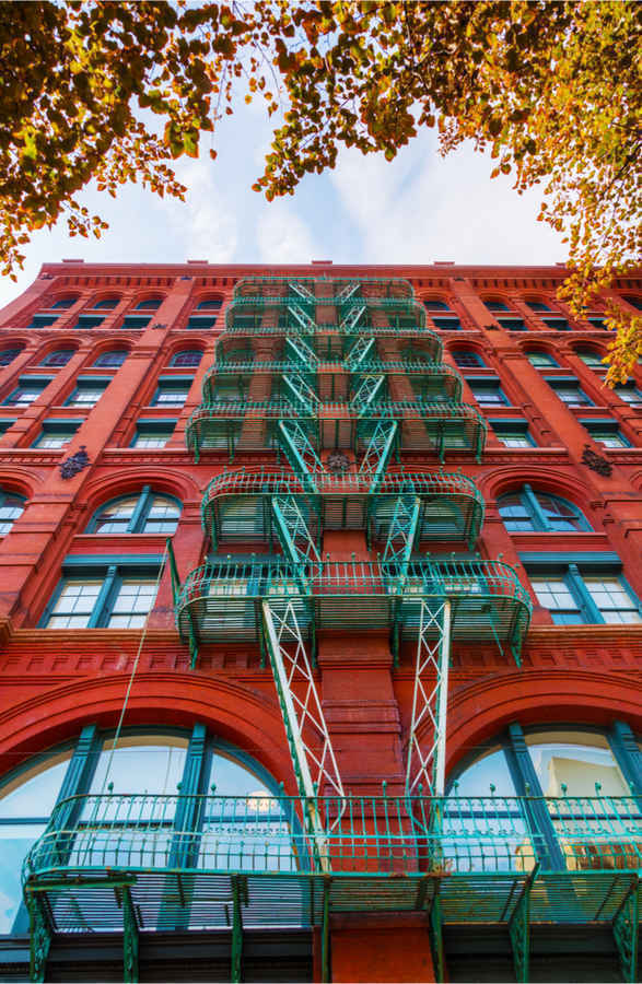 Residential apartment buildings with fire  escapes in Soho, New York
