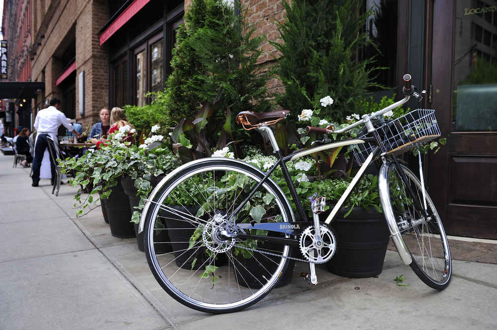 Bike by outdoor cafe in Tribeca Manhattan