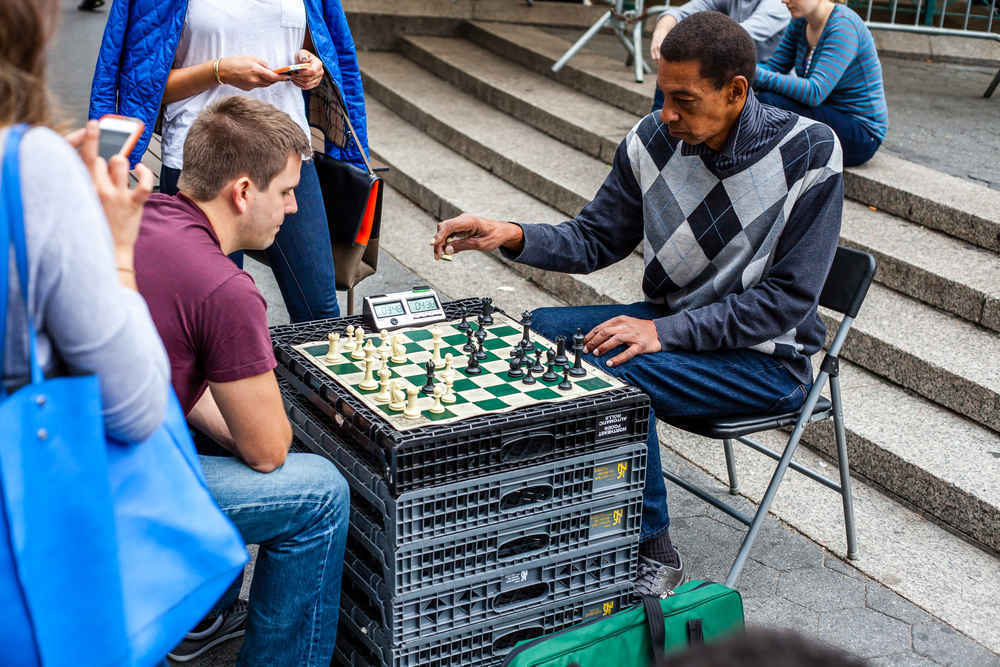 Men playing chess in Union Square New York