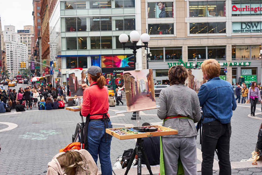 Women painting in Union Square New York